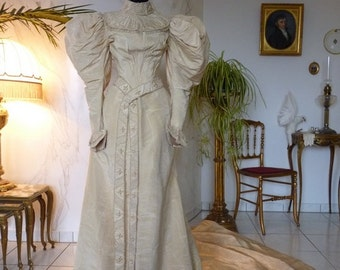 Wedding Gown, Antique Dress, Antique Gown, Bridal Dress, Victorian Wedding Dress, New York, ca. 1895