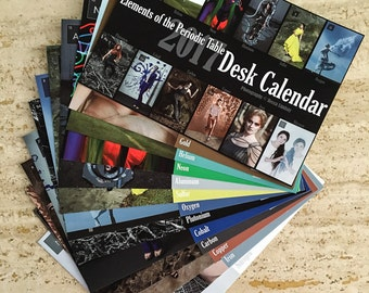 2017 Elements of the Periodic Table Desk Calendar, 5x7, mini calendar, fine art photography, office decor, holiday gift