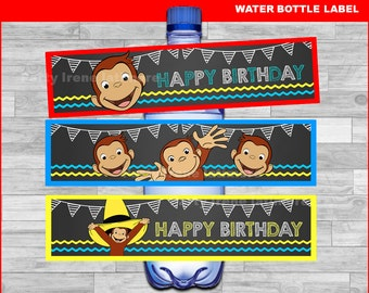 Curious George water bottle labels Instant download, Curious George Chalkboard water labels, Curious George party water labels