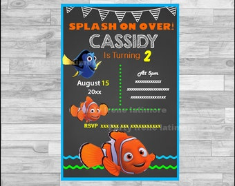 Finding Dory Invitation, Finding Dory Chalkboard Invitation, Finding Nemo Invitation Digital file