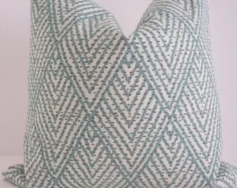 Ikat Aqua Pillow Cover- Chevron Pillow Cover- Zig zag Aqua Pillow- Blue Aqua Cream Pillow- Turquoise Pillow-Teal Pillow Cover- Accent Pillow