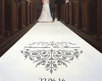 Majestic Wedding Aisle Runner With Personalised Text, Beautifully Designed Especially for You & Your Ceremony