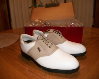 Mens Vintage Dexter White/Taupe Nubuck Leather Liberty Golf Shoes size 10M, Made in USA, NIB