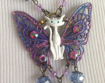 CATTERFLY - White Butterfly Faerie Cat Periwinkle Blue and Pink Wings AB Swarovski Vintage Glass OOAK