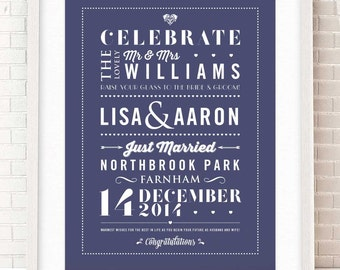 Personalised Wedding Gift | Wedding Print |  Typographic Wedding Details | Giclée print with mount | Two sizes and 12 colours available