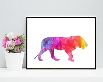 Lion Art Print, Lion Watercolor, Printable Lion Artwork - Digital Lion Art, Lioness artwork, Lioness art print, Lion Instant Download