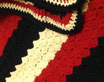 Handmade  red white blue afghan