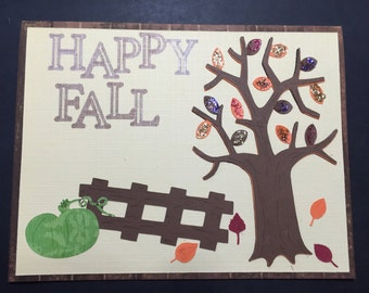 Autumn Card - FALL SPECIAL, Happy Fall Handmade Card, Handmade Autumn Card, Fancy Handmade Card, Fall Leaves,