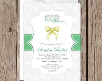 Printable Baby Shower Invitation | Evite | Instant Download | Ribbon