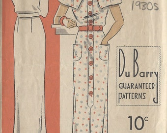 1930s Vintage Sewing Pattern B34 DRESS (1301) Du Barry 1230
