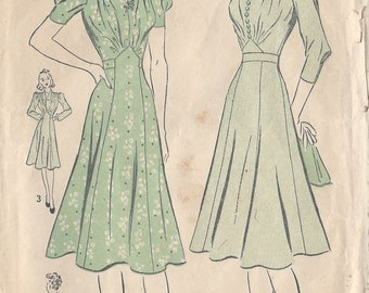 "1940s Vintage Sewing Pattern DRESS B36"" (69) Advance 2319"
