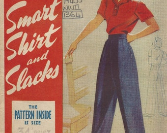 1940s WW2 Vintage Sewing Pattern B34 Shirt - Pants - Trousers - Slacks  (1364R) Weldons 45