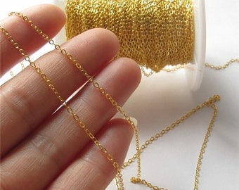 Very Thin Cable Chain Gold Flat Oval Link Chain Handmade Jewelry Finding 1.5x2mm