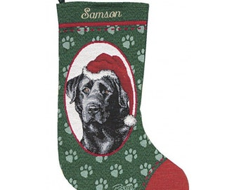 Black Labrador Personalized Christmas Stocking
