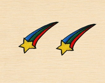 Set of 2 pcs Mini Shooting Star Iron On Patches Sew On Appliques