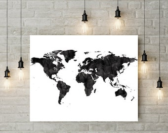 World map black watercolor print Large Travel map Large world map Gift painting Home Decor  World map poster Wall art World Map Art black