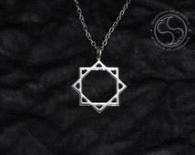 Octagram Symbol Pendant Rub el Hizb Necklace Keychain Double Square Logo Star of Lakshmi Emblem Amulet Talisman Islamic Star Sign Medallion