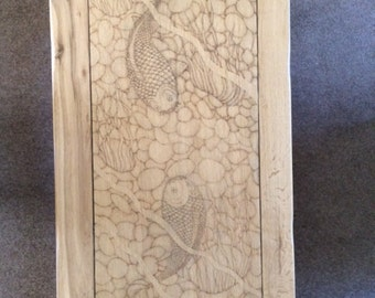 Oak coffee table with original pyrographic design