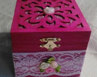Large pink blue purple flower jewellery boxes SALE