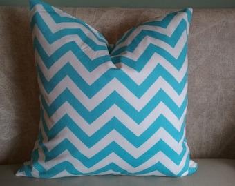 Aqua blue chevron pillow cover, chevron, aqua blue chevron, Aqua blue and white, pillow cover, decorative pillow, accent pillow, pillowcase