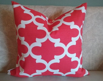 Coral pillow cover, quatrefoil, pillow cover, indoor/outdoor fabric, coral & white, pillowcase, decorative pillow, accent pillow, home decor
