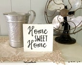 Home Sweet Home Wooden Sign | Hand Lettered Sign | 6 x 6