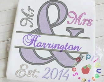 mr and mrs wedding anniversary applique machine embroidery design 2 sizes including fill in font