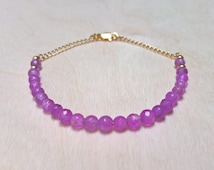 Alexandrite Friendship Bracelet, June birthstone, perfect for stacking, with dainty 4mm faceted natural gemstones.