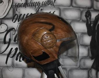 "Helmet ""Shark"" paint ""wood"" new & Unique!"