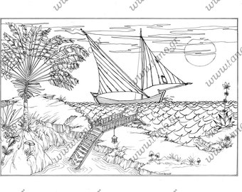 """ADULT COLORING PAGES """"The Lost Bridge""""Instant Download.Coloring for adults.Coloring for Kids.Printable coloring page.Ship. Seascape coloring"""