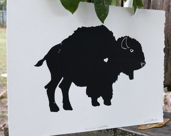 Bison Buffalo - Screen Print, Black Ink, White Paper