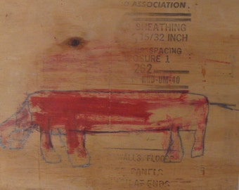 Red Dog, Original Painting, Mixed Media On Reclaimed Wood