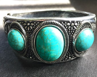 Tribal turquoise silver cuff bracelet,Ethnic turquoise cuff,Vintage turquoise and silver bracelet
