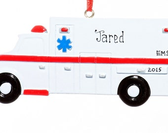 EMT Ambulance Personalized Ornament-Free Gift Bag Included