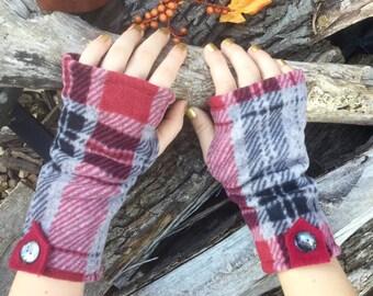 Reading Gloves Plaid Fingerless Texting Gloves Typing Gloves