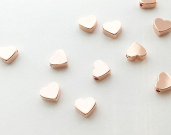 10 Hand Stamp Rose gold Heart Charms Polished Rose Gold Plated over Brass Jewelry Findings Stamping blank brass blanks 10FS-R