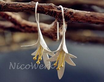 Silver earrings flower ladies jewelry earrings ear jewelry 925 gift 294
