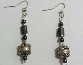 Handmade Hematite & Silver Bead Dangle Earrings
