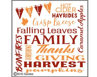 Fall Subway words SVG DXF EPS Cutting File For Cricut Explore, Silhouette & More. Instant Download. Personal and Commercial Use