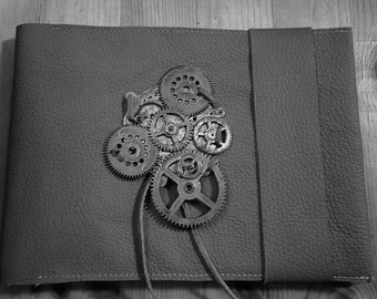 Steampunk style leather sketchbook