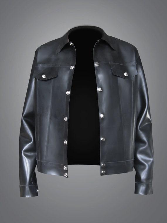 herren latex jeans jacke 08 mm. Black Bedroom Furniture Sets. Home Design Ideas