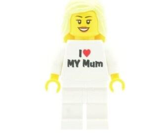 Custom Designed Minifigure - Girl with 'I Love My Mum' Torso Printed On LEGO Parts