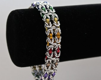 Bracelet, Chainmaille, Rainbow Byzantine Weave, Double Strand with Slide Clasp