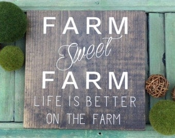 Farm Sweet Farm | Wood Sign | Stained Wood Sign | Home Decor | Wall Decor | Home