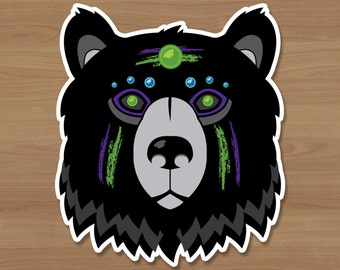 Neon Bear Sticker