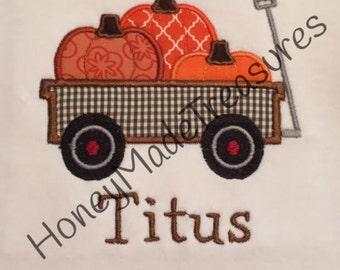 Fall Pumpkin Wagon/Boy's Fall Shirt/Fall Harvest Shirt/Toddler Name Shirt/Thanksgiving Monogram/Baby Season Shirt
