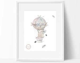 Bunnies_Hot Air Balloon Wall Print_0030WP