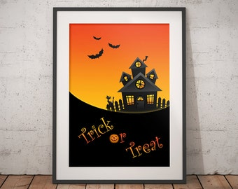 Happy Halloween modern wall art decor for print, Trick or treat fall art print with black bat for Halloween gift or home seasonal decor