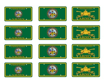 scale model US Army car license plates tag set
