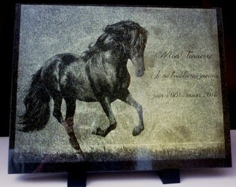 Plate souvenir granite black rectangular 30 * 23cm